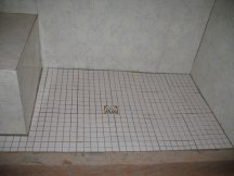 Laying the tile in the shower