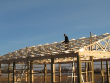 Working on the north roof purlins