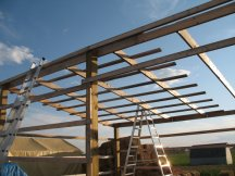 Working on purlins